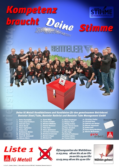 Werbeplakat IG Metall Betriebsratswahl Benteler